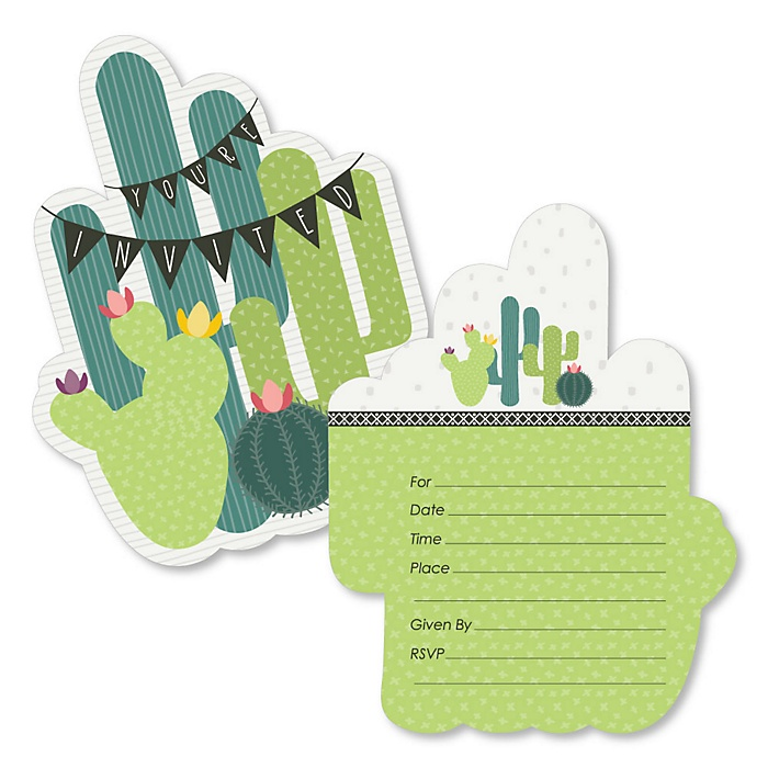 Prickly Cactus Party - Shaped Fill-In Invitations - Fiesta Party Invitation Cards with Envelopes - Set of 12