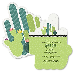 Prickly Cactus Party - Shaped Fiesta Party Invitations - Set of 12