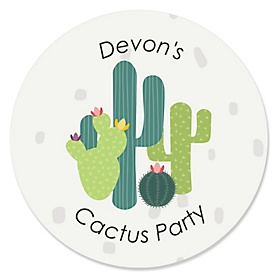 Prickly Cactus Party - Personalized Fiesta Party Sticker Labels - 24 ct