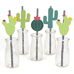 Prickly Cactus Party - Paper Straw Decor - Fiesta Party Striped Decorative Straws - Set of 24