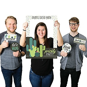 Prickly Cactus Party - Personalized Fiesta Party Selfie Photo Booth Picture Frame & Props - Printed on Sturdy Material