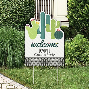 Prickly Cactus Party - Party Decorations - Fiesta Party Personalized Welcome Yard Sign