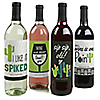 Prickly Cactus Party - Personalized Fiesta Party Wine Bottle Label Stickers - Set of 4