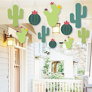 Hanging Prickly Cactus Party - Outdoor Fiesta Party Hanging Porch & Tree Yard Decorations - 10 Pieces