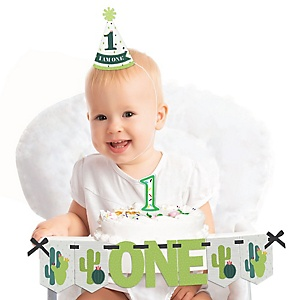Prickly Cactus Party 1st Birthday - First Birthday Girl or Boy Smash Cake Decorating Kit - Fiesta High Chair Decorations