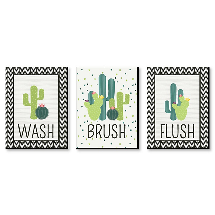 Prickly Cactus - Kids Bathroom Rules Wall Art - 7.5 x 10 inches - Set of 3 Signs - Wash, Brush, Flush
