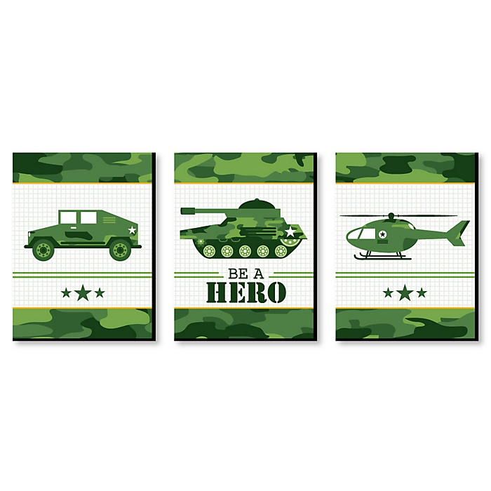 Camo Hero - Army Military Camouflage Nursery Wall Art and Kids Room Decor - 7.5 x 10 inches - Set of 3 Prints