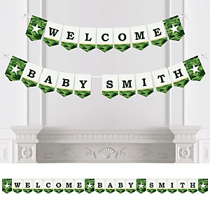 Camo Hero - Personalized Army Military Camouflage Baby Shower Bunting Banner and Decorations