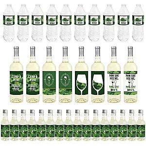 Camo Hero - Mini Wine Bottle Labels, Wine Bottle Labels and Water Bottle Labels - Army Military Camouflage Party Decorations - Beverage Bar Kit - 34 Pieces