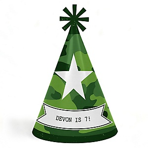 Camo Hero - Personalized Cone Happy Birthday Party Hats for Kids and Adults - Set of 8 (Standard Size)