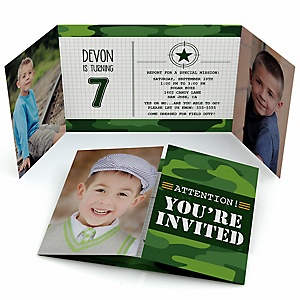 Camo Hero - Personalized Army Military Camouflage Birthday Party Photo Invitations - Set of 12