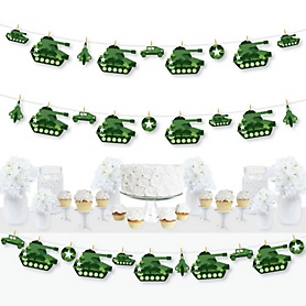 Camo Hero - Army Military Camouflage Party DIY Decorations - Clothespin Garland Banner - 44 Pieces