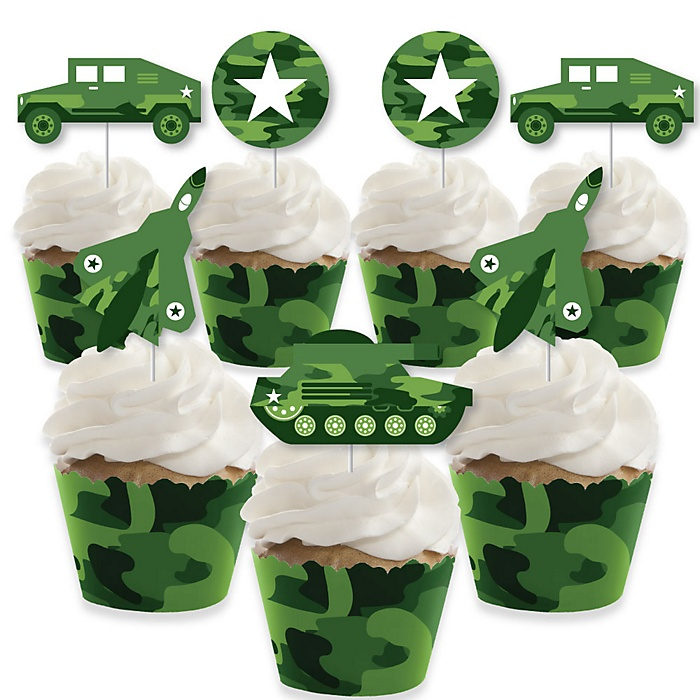 Camo Hero - Cupcake Decoration - Army Military Camouflage Party Cupcake Wrappers and Treat Picks Kit - Set of 24