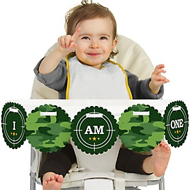Camo Hero 1st Birthday - I am One - First Birthday High Chair Banner