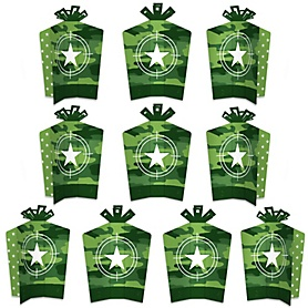 Camo Hero - Table Decorations - Army Military Camouflage Party Fold and Flare Centerpieces - 10 Count