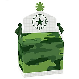 Camo Hero - Treat Box Party Favors - Army Military Camouflage Party Goodie Gable Boxes - Set of 12