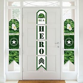 Camo Hero - Hanging Vertical Paper Door Banners - Army Military Camouflage Party Wall Decoration Kit - Indoor Door Decor