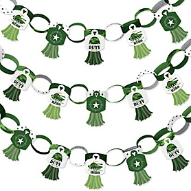 Camo Hero - 90 Chain Links and 30 Paper Tassels Decoration Kit - Army Military Camouflage Party Paper Chains Garland - 21 feet