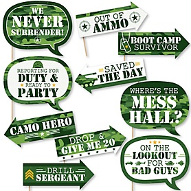 Funny Camo Hero - 10 Piece Army Military Camouflage Party Photo Booth Props Kit