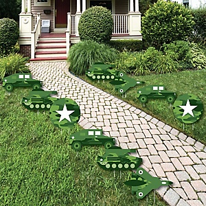 Camo Hero - Tank, Truck and Plane Lawn Decorations - Outdoor Army Military Camouflage Party Yard Decorations - 10 Piece