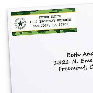 Camo Hero - Personalized Army Military Camouflage Party Return Address Labels - 30 ct