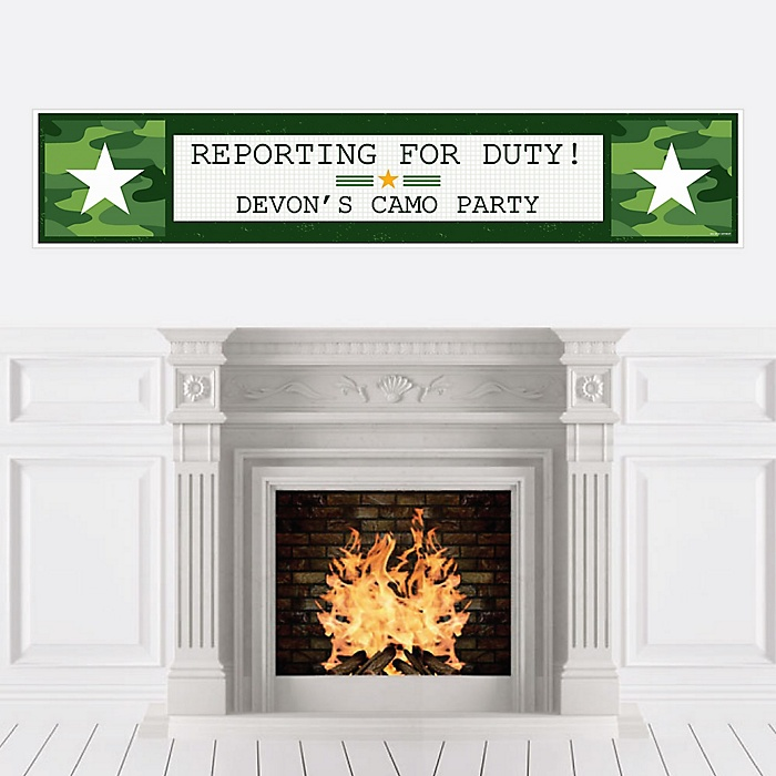 Camo Hero - Personalized Army Military Camouflage Party Banner