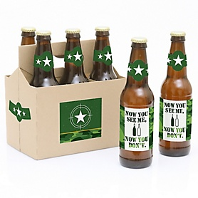 Camo Hero - Army Military Camouflage Party Decorations for Women and Men - 6 Beer Bottle Label Stickers and 1 Carrier