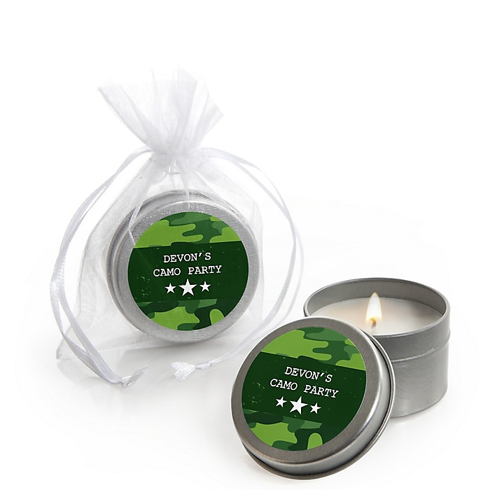 Camo Hero - Army Military Camouflage - Personalized Party Candle Tin Favors - Set of 12