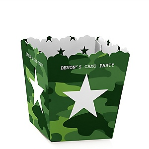 Camo Hero - Party Mini Favor Boxes - Personalized Army Military Camouflage Party Treat Candy Boxes - Set of 12