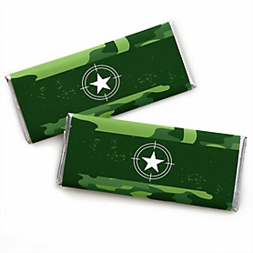 Camo Hero -  Candy Bar Wrapper Army Military Camouflage Party Favors - Set of 24