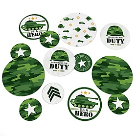 Camo Hero - Army Military Camouflage Party Giant Circle Confetti - Party Decorations - Large Confetti 27 Count