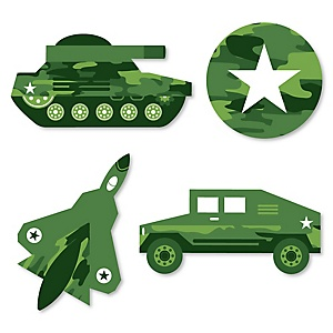 Camo Hero - DIY Shaped Army Military Camouflage Party Cut-Outs - 24 ct