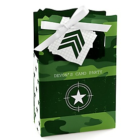 Camo Hero - Personalized Army Military Camouflage Party Favor Boxes - Set of 12