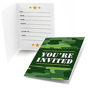Camo Hero - Fill In Army Military Camouflage Party Invitations - 8 ct