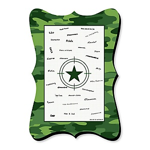 Camo Hero - Unique Alternative Guest Book - Army Military Camouflage Party Signature Mat