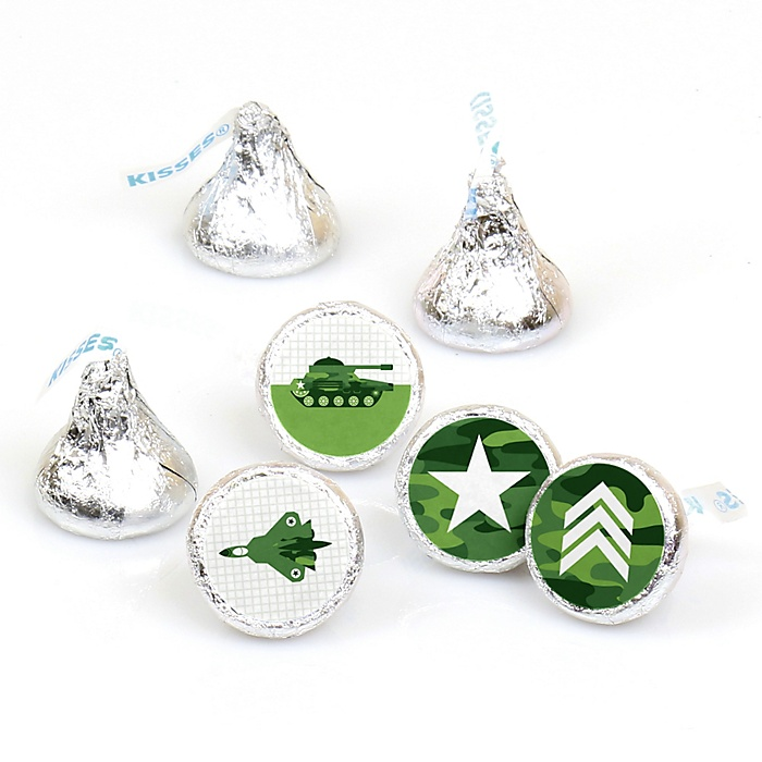Camo Hero - Army Military Camouflage Party Round Candy Sticker Favors - Labels Fit Hershey's Kisses - 108 ct