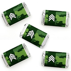 Camo Hero - Mini Candy Bar Wrappers Stickers - Army Military Camouflage Party Small Favors - 40 Count