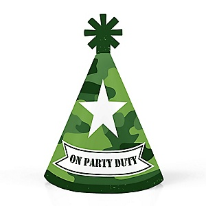 Camo Hero - Personalized Mini Cone Army Military Camouflage Party Hats - Small Little Party Hats - Set of 10