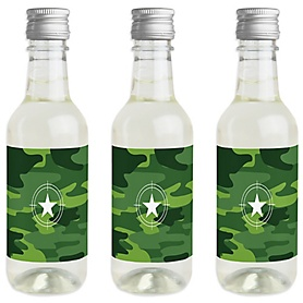 Camo Hero - Mini Wine and Champagne Bottle Label Stickers - Army Military Camouflage Party Favor Gift - For Women and Men - Set of 16