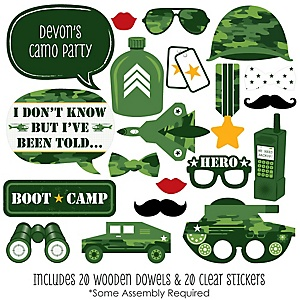 Camo Hero - 20 Piece Army Military Camouflage Party Photo Booth Props Kit