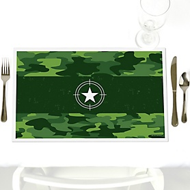 Camo Hero - Army Military Camouflage - Party Table Decorations - Party Placemats - Set of 12