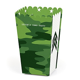 Camo Hero - Personalized Army Military Camouflage Party Favor Popcorn Treat Boxes - Set of 12