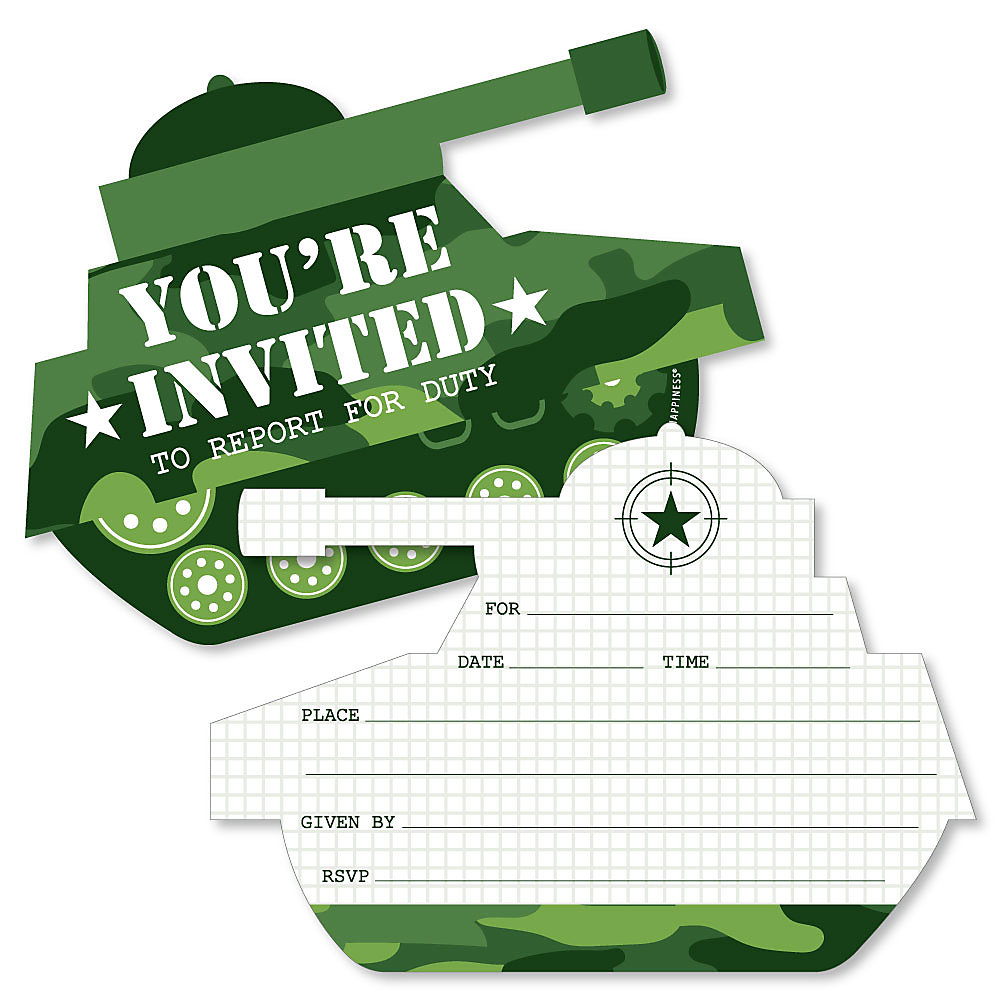 Camo Hero Shaped Fill In Invitations Army Military Camouflage Party Invitation Cards With Envelopes Set Of 12