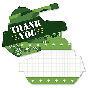 Camo Hero - Shaped Thank You Cards - Army Military Camouflage Party Thank You Note Cards with Envelopes - Set of 12