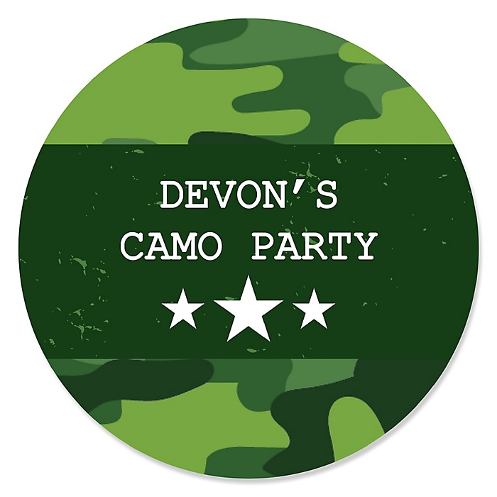 Camo Hero - Personalized Army Military Camouflage Party Sticker Labels - 24 ct