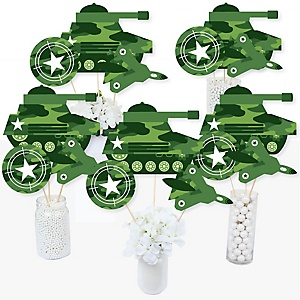 Camo Hero - Army Military Camouflage Party Centerpiece Sticks - Table Toppers - Set of 15