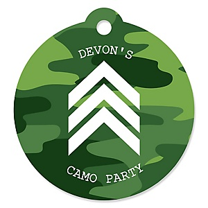 Camo Hero - Round Personalized Army Military Camouflage Party Tags - 20 ct