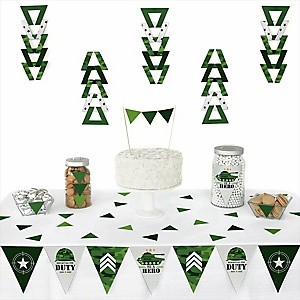 Camo Hero - Triangle Army Military Camouflage Party Decoration Kit - 72 Piece