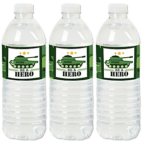 Camo Hero - Army Military Camouflage - Party Water Bottle Sticker Labels - Set of 20