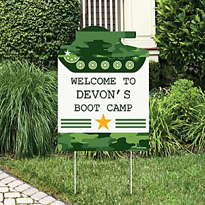 Camo Hero - Party Decorations - Army Military Camouflage Party Personalized Welcome Yard Sign